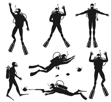 sea  scuba diving: Scuba diver silhouettes. Diving silhouettes on white background.  Speargun and water sport, people diving sea. Vector illustration Illustration