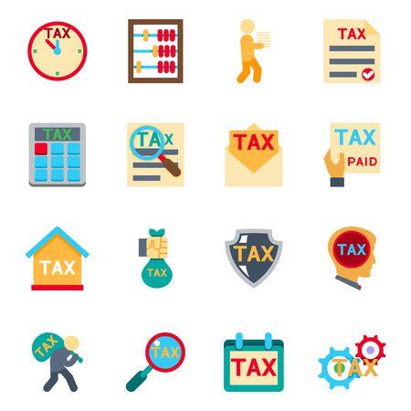 ingresos: Iconos de impuestos en conjunto estilo plano. Recuento de dinero, finanzas fiscalidad, la contabilidad y el pago, ilustración vectorial