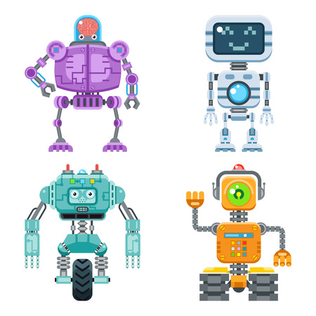 Robot flat icons vector set. Machine technology ai, intelligence artificial cyborg, science robotic illustration