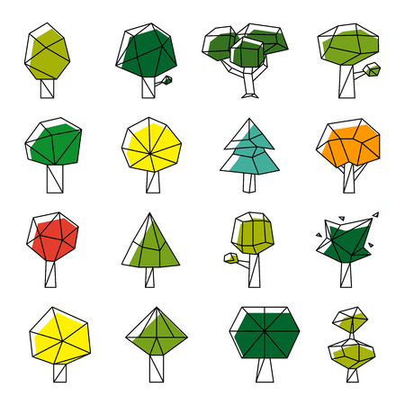 green plants: Line art polygonal trees vector icons. Design nature, flora and environment illustration Illustration