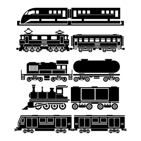 black train: Train, sky train, subway icons set. Passenger and public transport symbols. Transportation travel, vehicle traffic, vector illustration