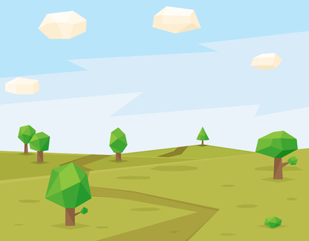 grass: Green fields polygonal background. Abstract geometric sky, polygon art, landscape vector illustration Illustration