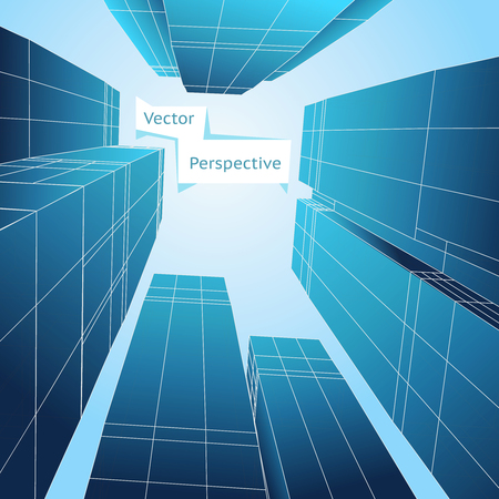 building structure: Perspective 3d building. Abstract vector poster. Skyscraper design, business architecture structure illustration