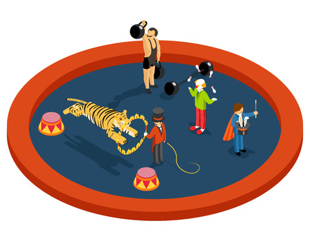 trainers: Isometric 3d circus characters. Animal trainer and athlete, magician and clown, performance and magic, entertainment vector illustration