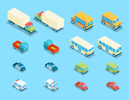 Ajuste ciudad isométrica de transporte 3d vector iconos. coches de transporte, auto y el automóvil, camioneta y la ilustración de la policía