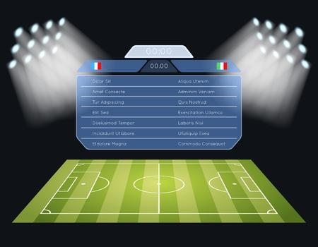 Floodlighting soccer field scoreboard. Spotlight and lighting, sport football game, stadium and championship competition. Vector illustration Illustration