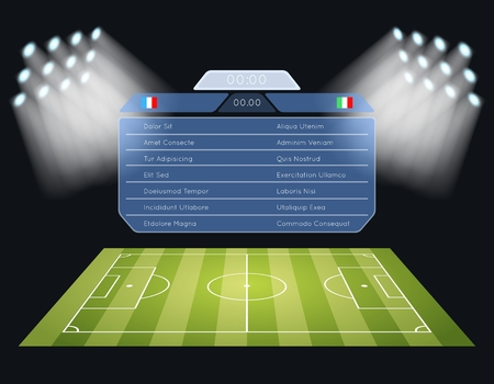 Floodlighting soccer field scoreboard. Spotlight and lighting, sport football game, stadium and championship competition. Vector illustration Stock Illustratie