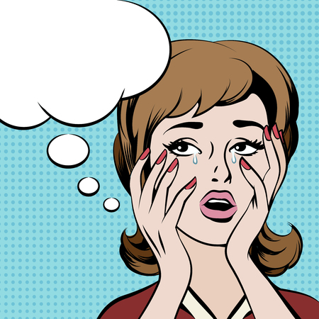 upset: Crying frustrated woman with empty speech bubble. Girl thought, female retro sad, vector illustration
