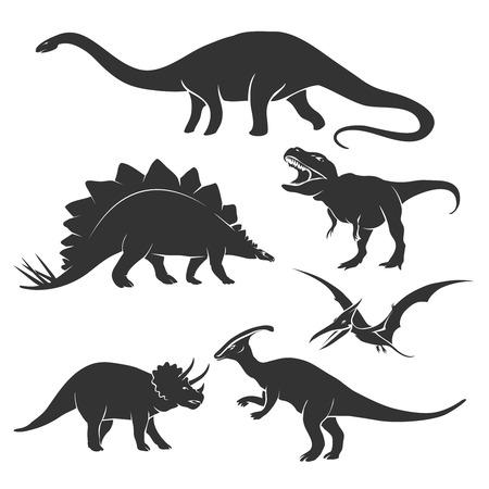 dinosaurio caricatura: Conjunto de siluetas de dinosaurios. Amphicoelias y prehist�ricos, tyrannosaurus y triceratops, ilustraci�n vectorial