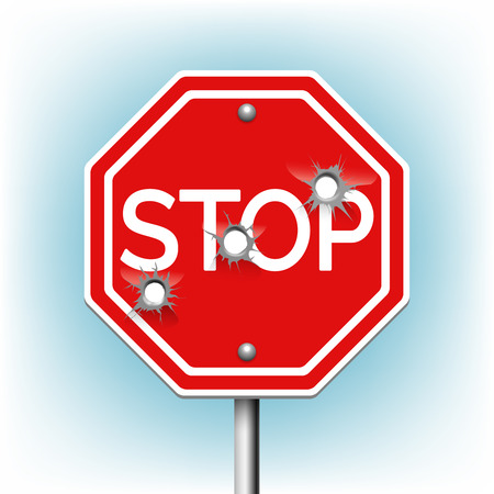 gunshot: Stop sign with bullet holes. Warning and danger, bullethole and aperture, perforation roadsign, vector illustration