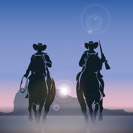 silueta masculina: Cowboys siluetas galopando por la pradera al amanecer. Salvaje oeste occidental, la naturaleza al aire libre, ilustración vectorial