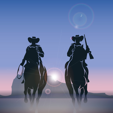 Cowboys silhouettes galloping across the prairie at sunrise. Western wild west, outdoor nature, vector illustration Illustration