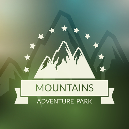 summits: Mountain landscape background. Outdoor activity symbol. Activity travel emblem, mountaineering and summit, vector illustration Illustration