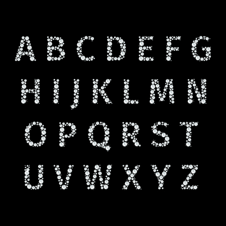 Vector alphabet with diamonds letters. Brilliant luxury, diamond crystal, font letter and typeset illustration