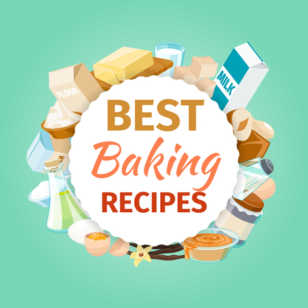 recipe background: Baking vector background with food ingredients. Powder and food, recipe bakery, vector illustration