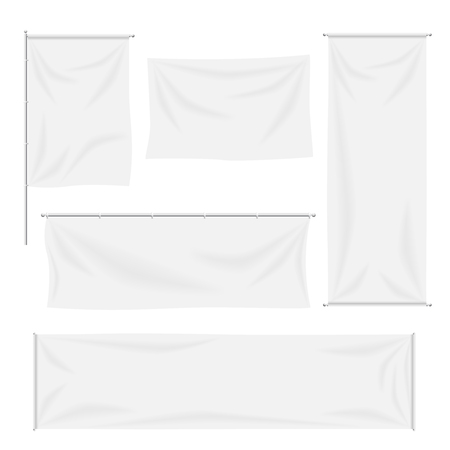 White flags and textile banners folds template set. Canvas and blank banner, fabric cloth, advertising empty, vector illustration