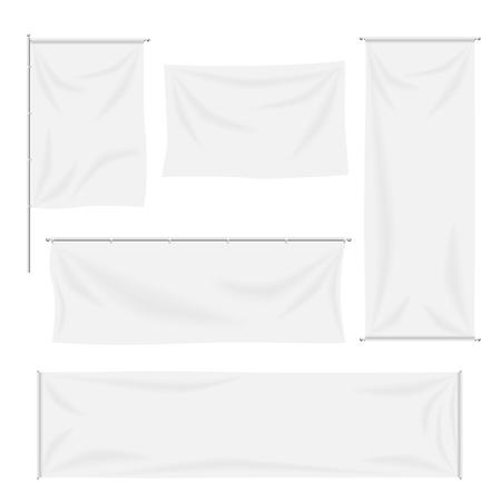 Witte vlaggen en textiel banners plooien template set. Canvas en lege banner, stof doek, reclame lege, vector illustratie Stock Illustratie