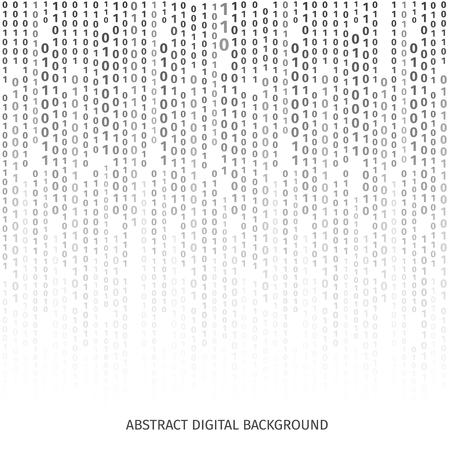 画面上の数字でバイナリ コードの黒と白の背景。 バイナリ アルゴリズム、データ コード、復号化、エンコードでは、行の行列、ベクトル イラスト