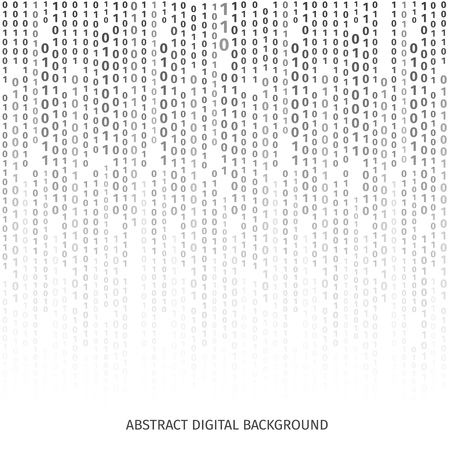 Binary code black and white background with digits on screen. Algorithm binary, data code, decryption and encoding, row matrix, vector illustration