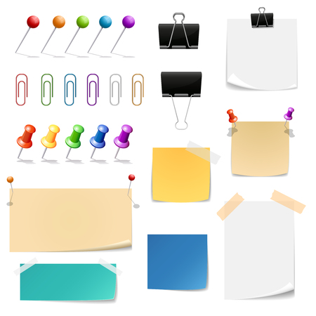 attach: Paper clips binders, note papers. Reminder and supplies  office, attach and clamp, vector illustration