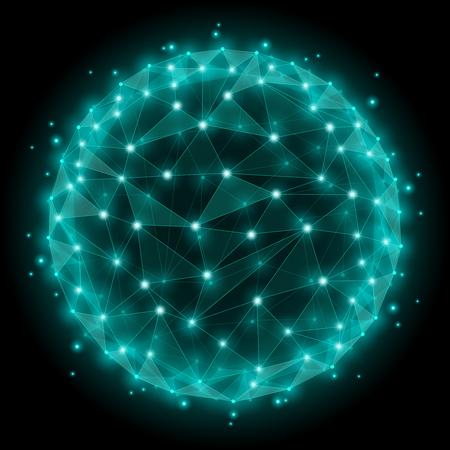 추상: 추상 구 와이어 프레임은 다각형 요소 메쉬. 도트 웹 네트워크 구조 구면. 벡터 일러스트 레이 션
