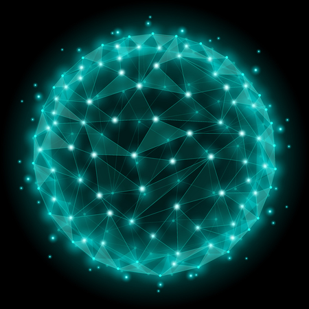 absztrakt: Absztrakt szféra vázas háló sokszögű elemeket. Dot és webes hálózat, szerkezet gömb alakú. Vektoros illusztráció Illusztráció