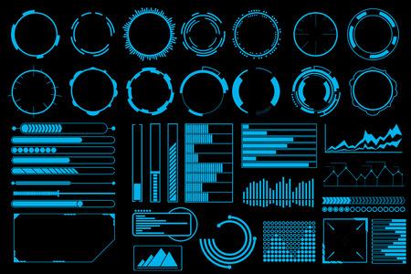 미래의 사용자 인터페이스 요소 벡터 집합입니다. 웹 배너, 추상 줄 정보 그래픽, 디자인 일러스트 레이 션