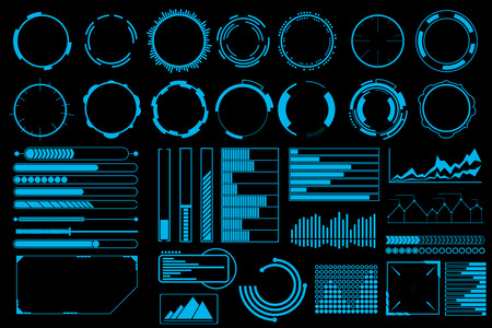 visual screen: Futuristic user interface elements vector set. Web banner, abstract bar info graphic, design illustration