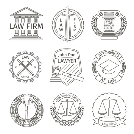 firms: Juridical and legal logo elements in line style. Juridical and tribunal, barrister and legislation, hammer and protection, vector illustration