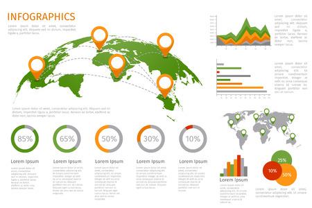 zeměkoule: Mapa světa 3D se sadou infografiky prvků. Projekční pokyny, obchodní graf a graf. Vektorové ilustrace