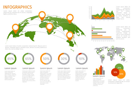 World map 3D with set of infographics elements. Design information, business graph and chart. Vector illustration Çizim