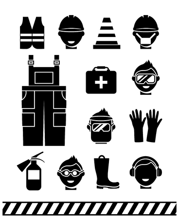 workwear: Job safety black icons set. Personal protective equipment. Headphones and rubber boots, workwear and extinguisher, vector illustration Illustration