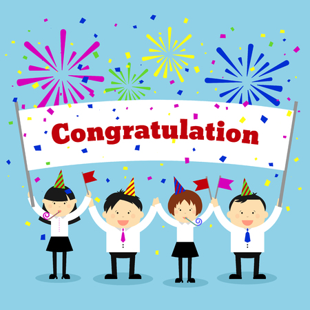 holding sign: Businessmen holding congratulation sign. Business and banner, message greeting. Vector concept background