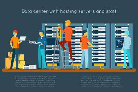 Centro de datos con servidores de alojamiento y el personal. La tecnología informática, redes y bases de datos, centro de Internet, sala de seguridad de las comunicaciones, ilustración vectorial