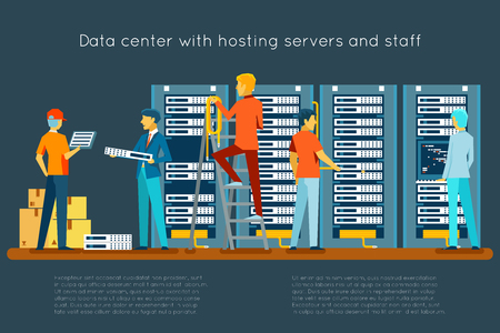 business centre: Data center with hosting servers and staff. Computer technology, network and database, internet center, communication security room, vector illustration