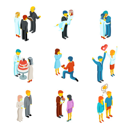 family man: Isometric 3d relationship and wedding people icons set.  Couple love, people woman and man family, vector illustration