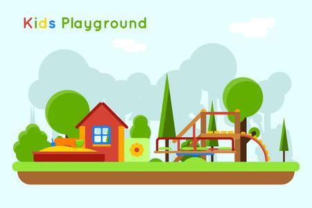 sandpit: Slide and sandpit playground. Outdoor and sand, toy childhood, vector illustration Illustration