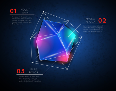 facet: Background low poly polygonal glowing geometric shape. Facet and triangular, construction bright, vector illustration