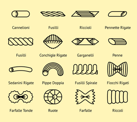 Different pasta types line icons set. Macaroni spirale, pippe and doppia, fiocchi and spaghetti, vector illustration