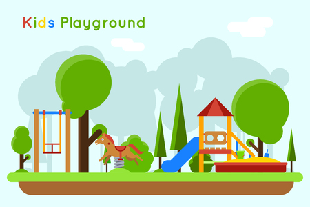 playground equipment: Kids playground flat concept background. Slide outdoor, sand and childhood, vector illustration Illustration