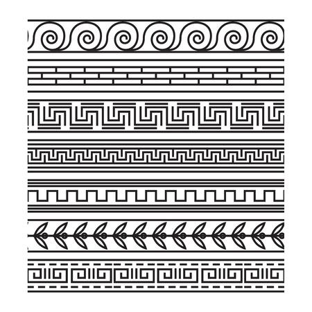 meander: Seamless greek pattern set. Antique frame, meander design, vector illustration