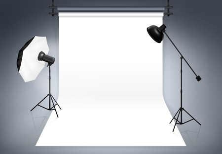 studio: Photo studio background. Equipment for photography, flash and spotlight, vector illustration