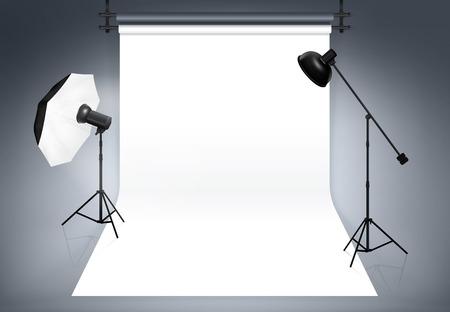 photography studio: Photo studio background. Equipment for photography, flash and spotlight, vector illustration
