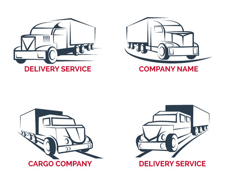 Cargo truck  delivery service logo templates set. Transportation van, vehicle freight, vector illustration Illustration