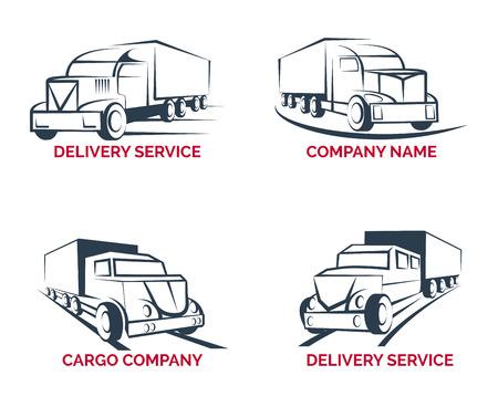 ciężarówka: ustawić ładunek ciężarówki dostawa szablony logo. Transport dostawczy, transport pojazdu, ilustracji wektorowych
