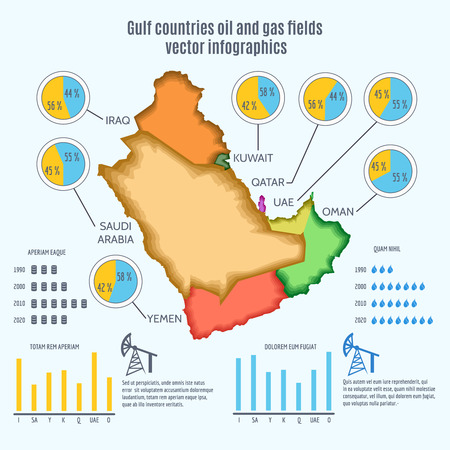 gulf: Gulf countries oil and gas fields infographics. Geographical border, graphs and charts, report and money income, vector illustration