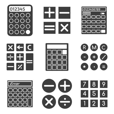 calculating: Calculator icons set. Mathematics electronic, finance calculating, minus and plus. Vector illustration Illustration