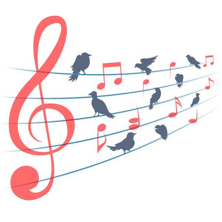 musica clasica: Resumen de música notas de la música de fondo y aves. la decoración musical, sonido y clave, la melodía y el canto, ilustración vectorial