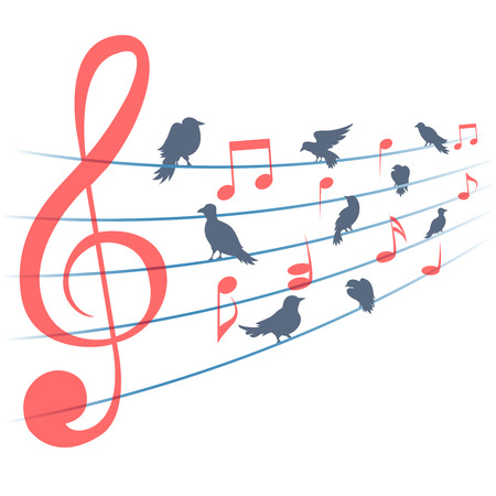 Abstract music background music notes and birds. Musical decoration, sound and clef, melody and song, vector illustration Illustration