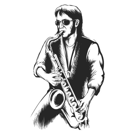 saxophonist: Saxophonist or saxophone player. Instrument and performance, jazz musical, entertainment blues, vector illustration Illustration